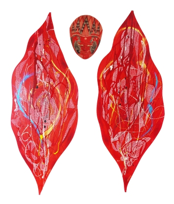 "18""x48"", 1 set of 2 paintings and Balinese mask, pen, enamel, acrylic, metallic paint on vulva-shaped canvas on board, 2014 